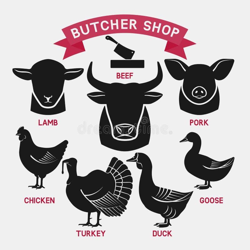 Silhouettes d'ensemble d'animaux Boucher Shop Icons illustration libre de droits