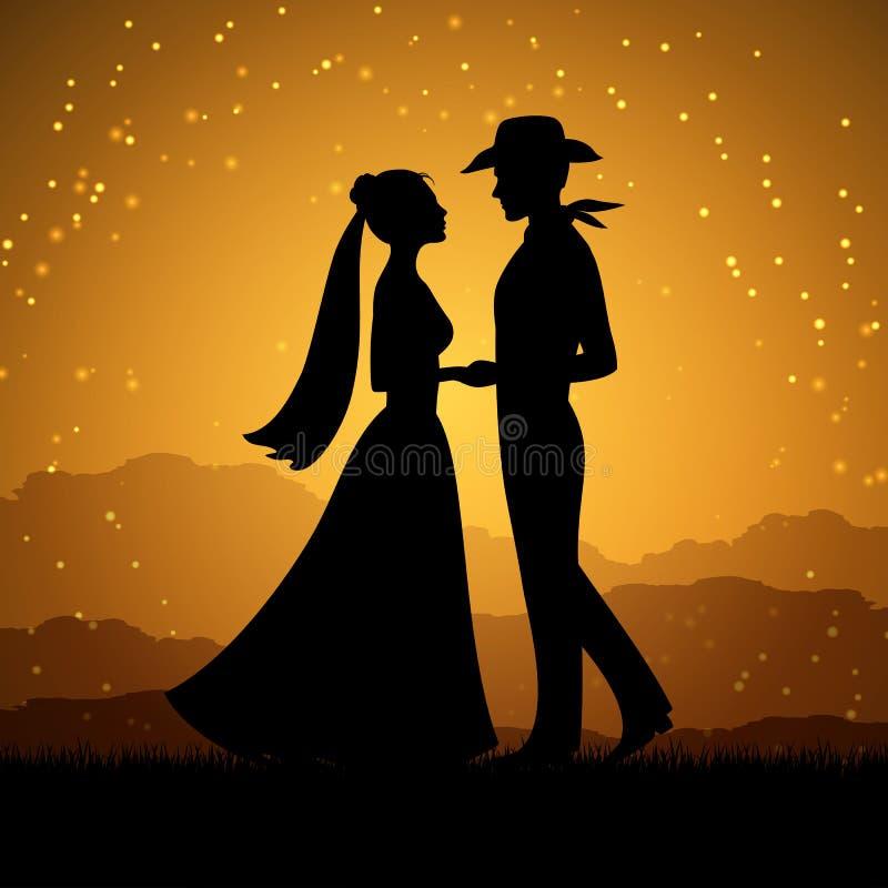 Silhouettes d'homme de jeune femme et de cowboy illustration stock