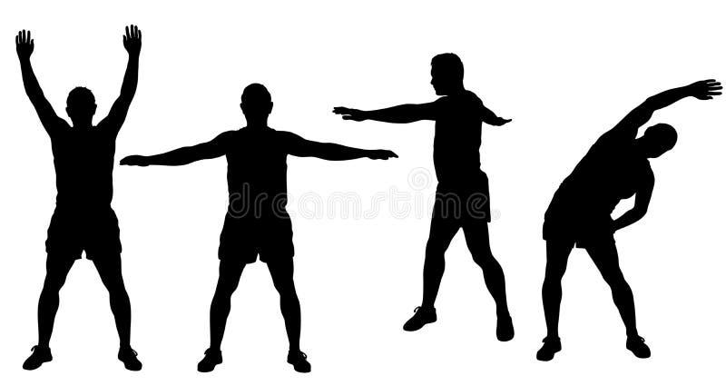 Silhouettes d'homme folâtre s'étendant et worming  illustration stock