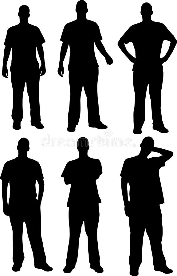 Silhouettes d'hommes images stock