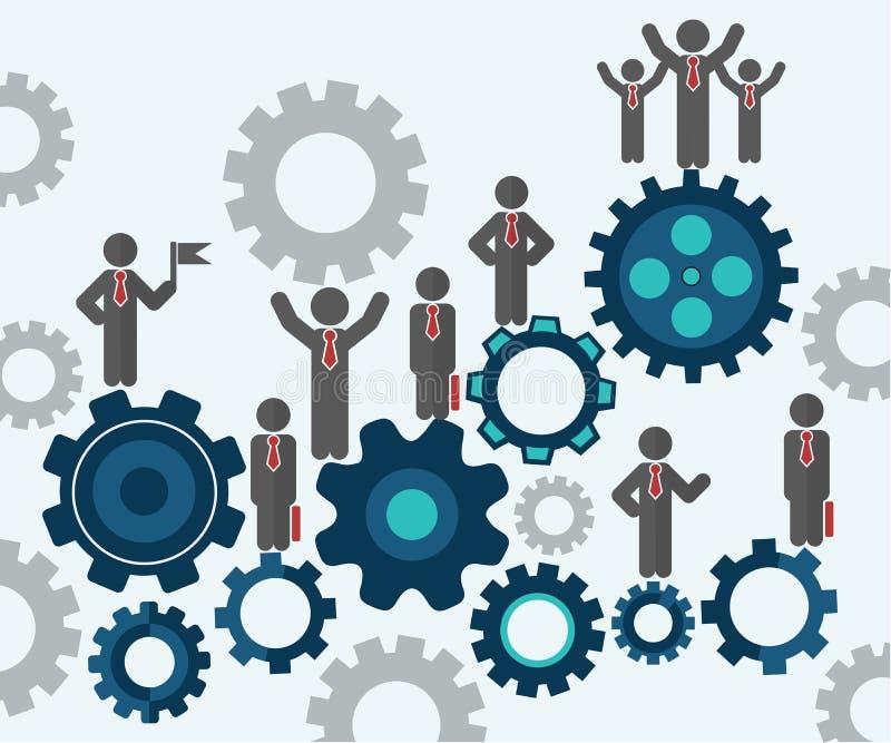 Silhouettes d'hommes d'affaires se tenant sur de grands symboles de dent Comment obtenir plus de clients ou de clients concept illustration stock