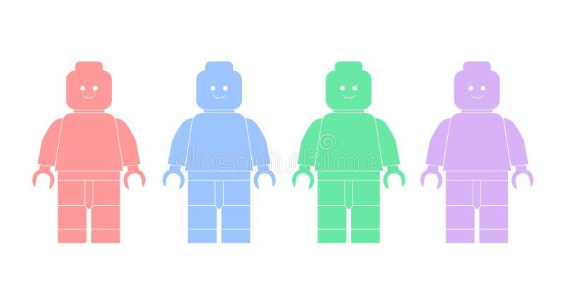 Silhouettes d'illustration de vecteur des hommes de lego images stock