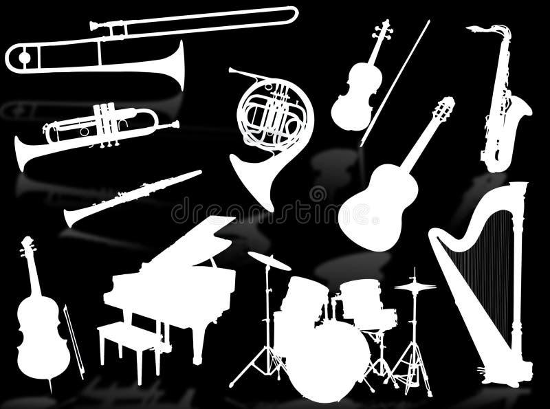 Silhouettes d'instruments musicaux illustration de vecteur