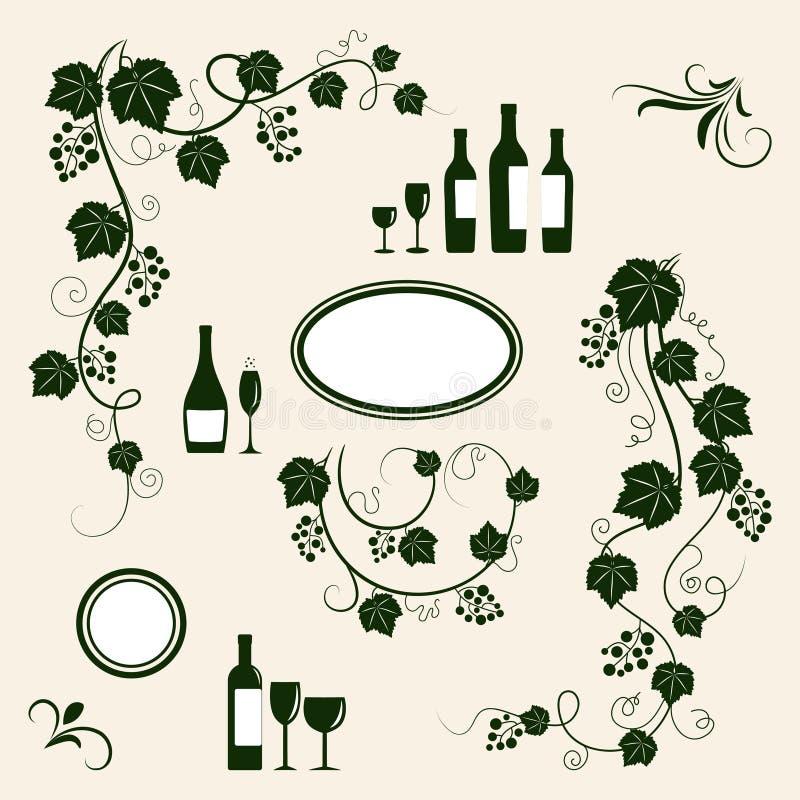 Silhouettes d'objet de conception d'établissement vinicole. illustration stock