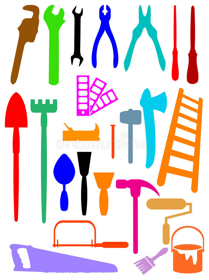 Silhouettes d'outils illustration stock