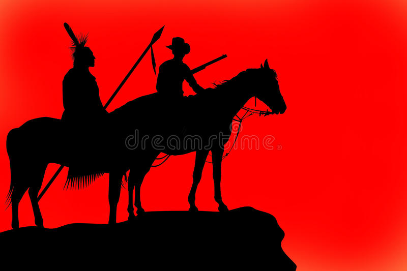 Silhouettes d'un cheval et des curseurs illustration libre de droits