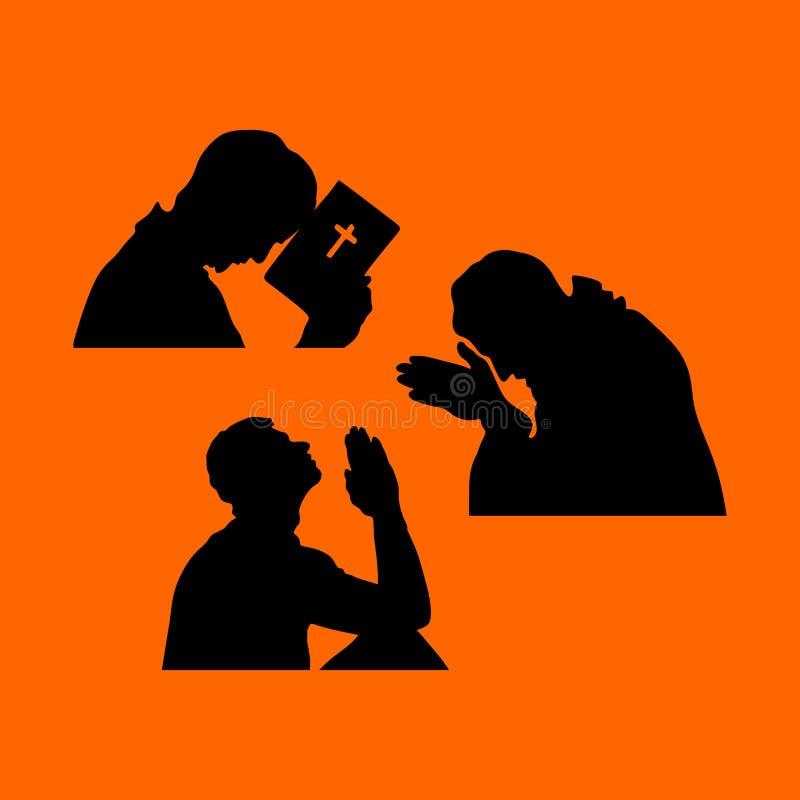 Silhouettes d'un homme dans la prière illustration stock