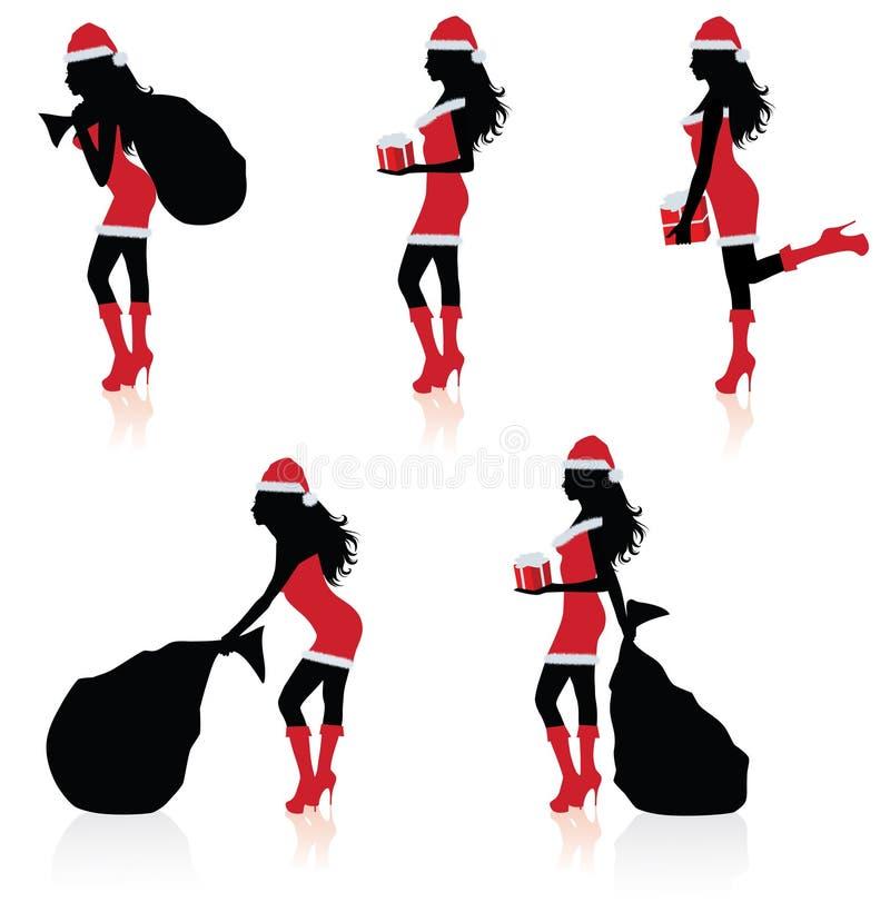 Silhouettes d'une Santa sexy. illustration libre de droits