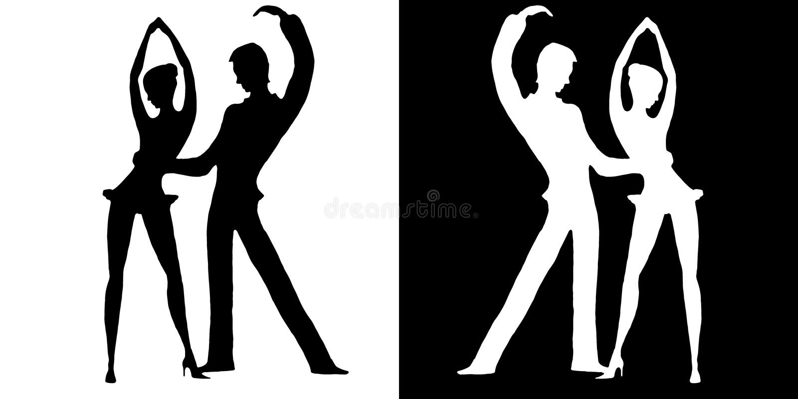 Silhouettes of dancers on white and on a black background royalty free illustration