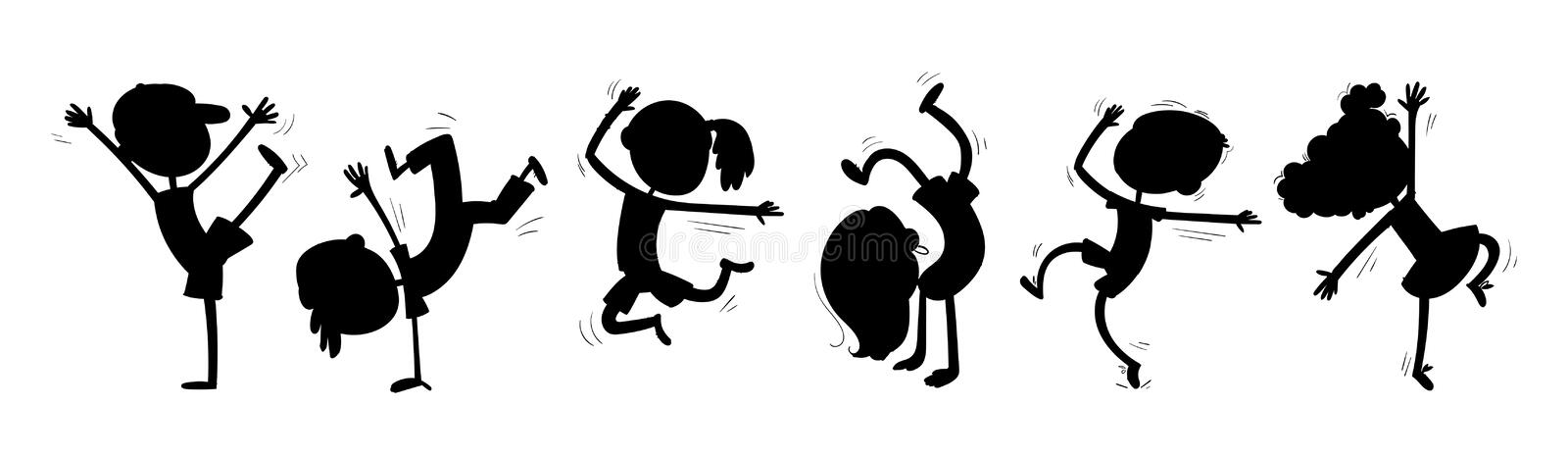 Silhouettes of dancing children. Funny cartoon character. Vector illustration. Isolated on white background royalty free illustration