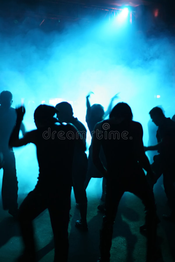 Silhouettes Of Dancing Teenagers Royalty Free Stock Image