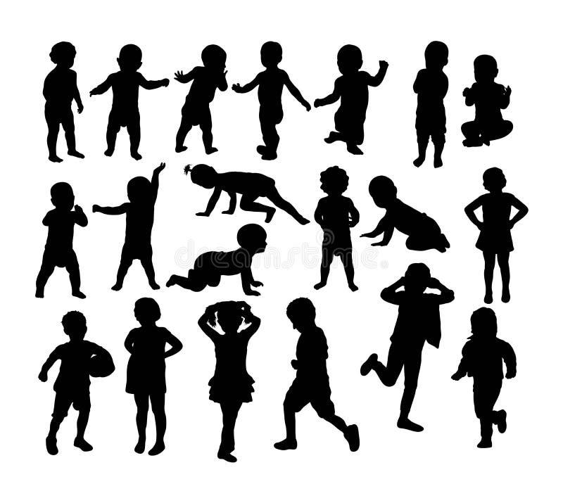 Silhouettes de bébé et d'enfants, conception de vecteur d'art illustration stock