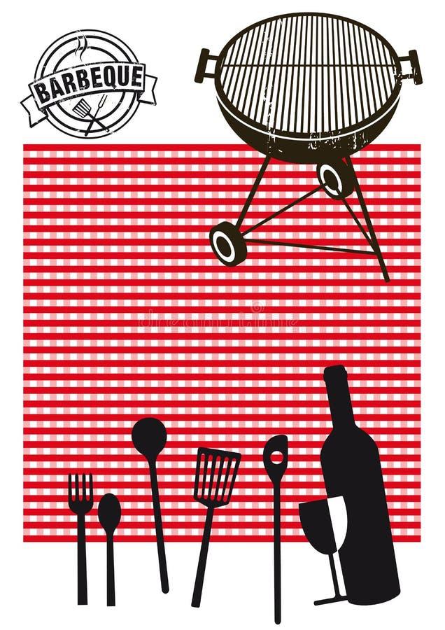 Silhouettes de barbecue et de pique-nique illustration de vecteur