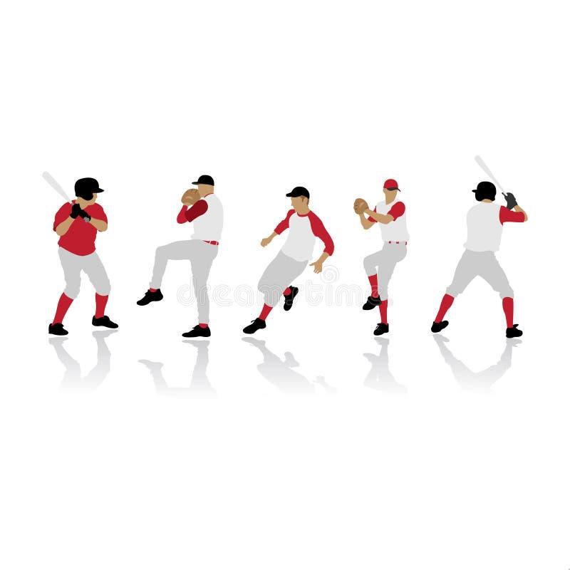 Silhouettes de base-ball illustration libre de droits