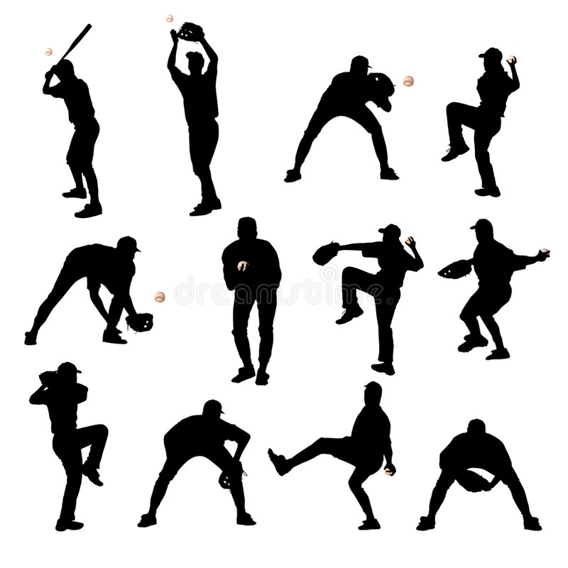 Silhouettes de base-ball illustration libre de droits