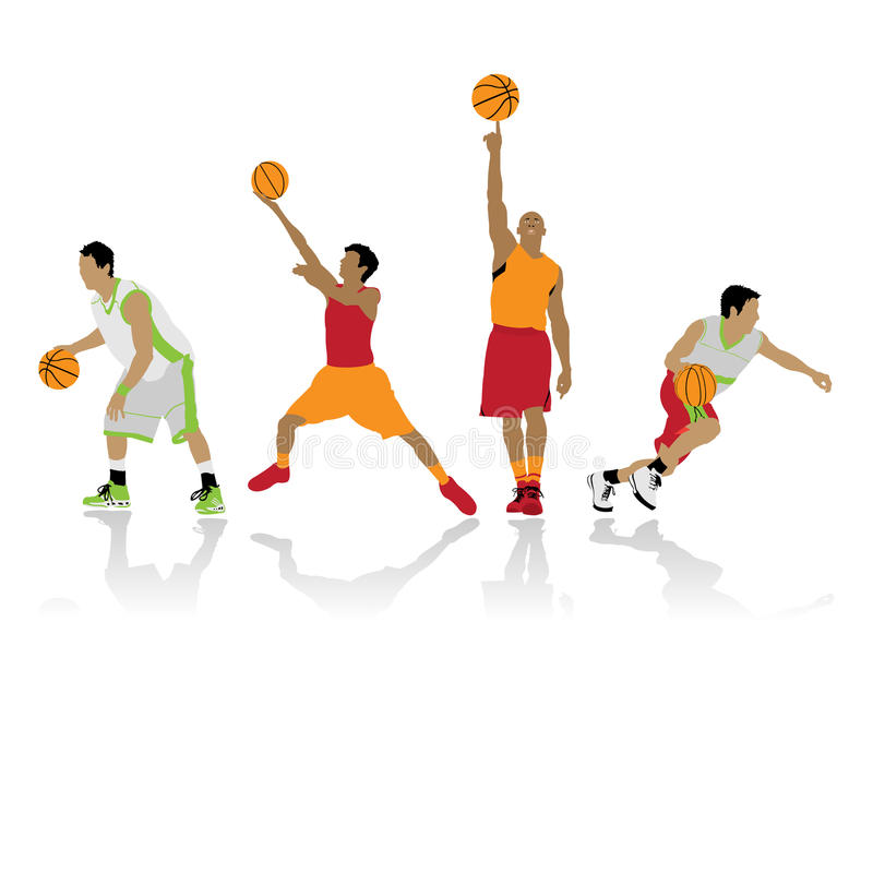 Silhouettes de basket-ball illustration de vecteur