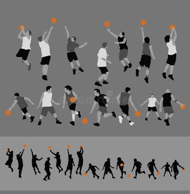 Silhouettes de basket-ball illustration libre de droits