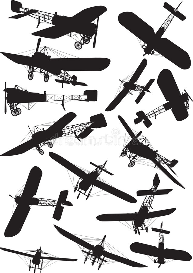 Silhouettes de Bleriot illustration stock