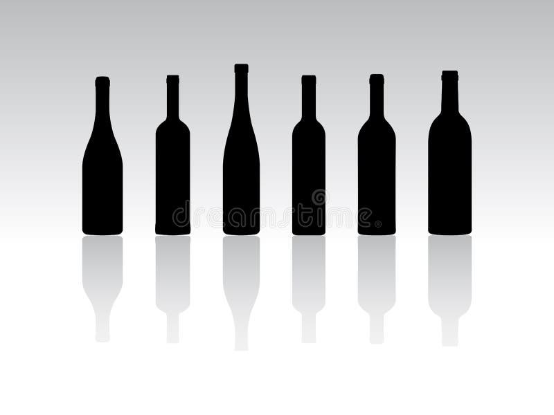 Silhouettes de bouteilles illustration de vecteur