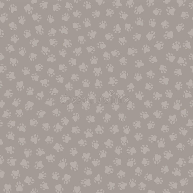 Silhouettes de Brown et de Grey Cute Cat Paw Print illustration stock