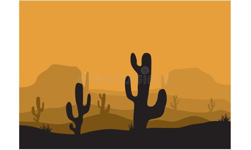 Silhouettes de cactus dans le désert illustration stock