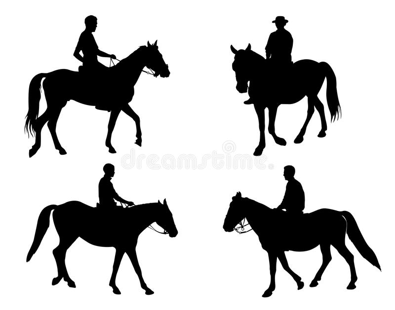 Silhouettes de cavaliers illustration stock