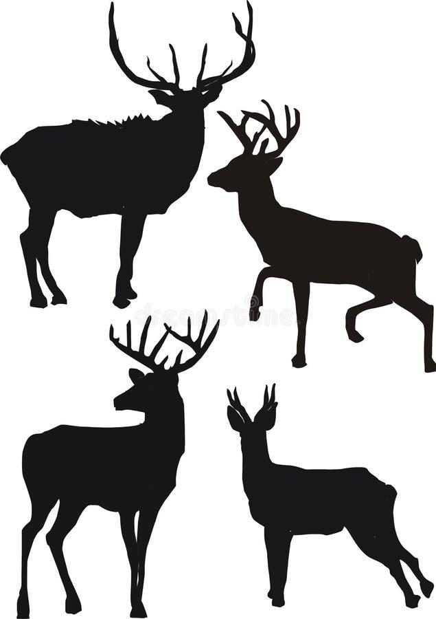 Silhouettes de cerfs communs illustration libre de droits