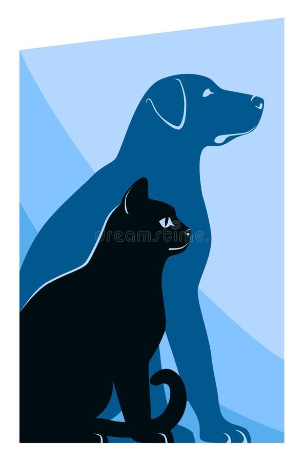 Silhouettes de chat et de chien illustration libre de droits