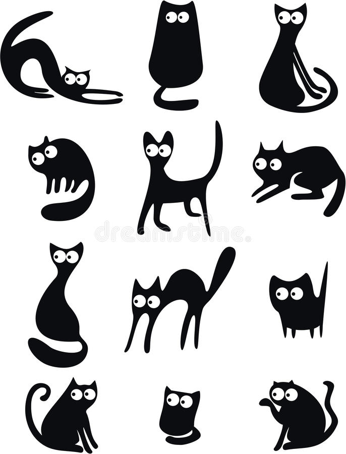 Silhouettes de chat noir illustration stock