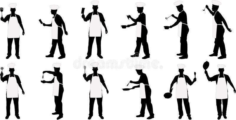 Silhouettes de chef de cuisine illustration libre de droits