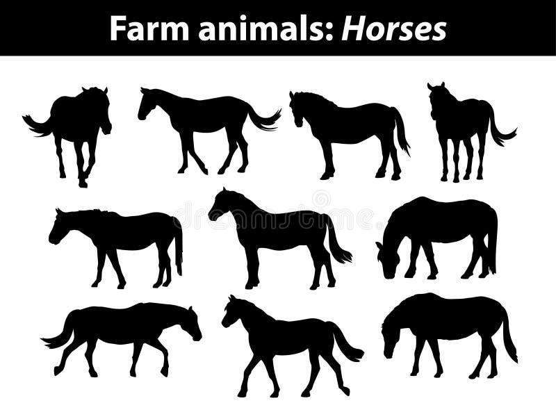 Silhouettes de chevaux de ferme réglées dans le noir illustration de vecteur