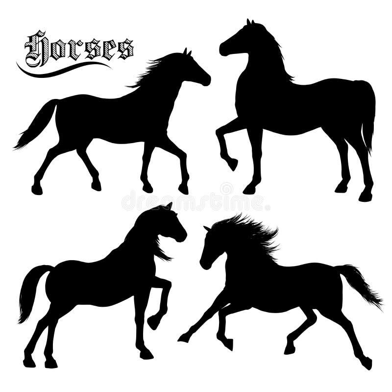Silhouettes de chevaux réglées illustration libre de droits