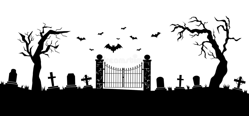 Silhouettes de cimetière avec l'illustration de pierres tombales illustration de vecteur