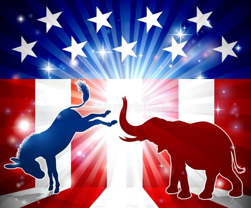 Silhouettes de combat d'éléphant d'âne illustration de vecteur