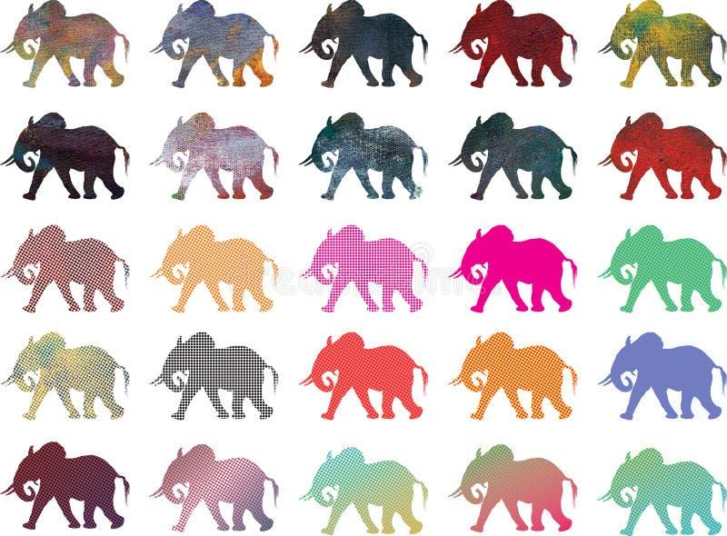 Silhouettes de couleur d'éléphant africain illustration libre de droits