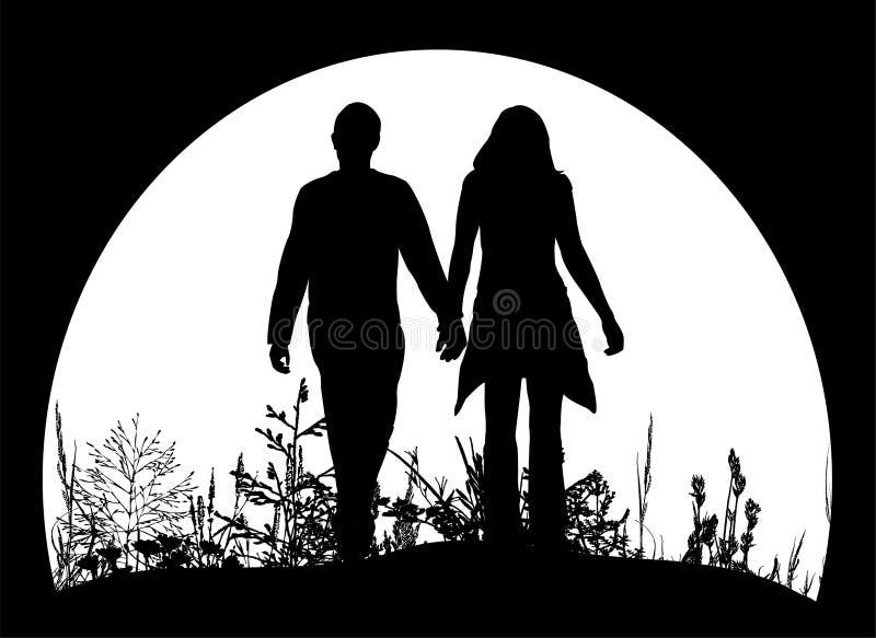 Silhouettes de couples illustration de vecteur