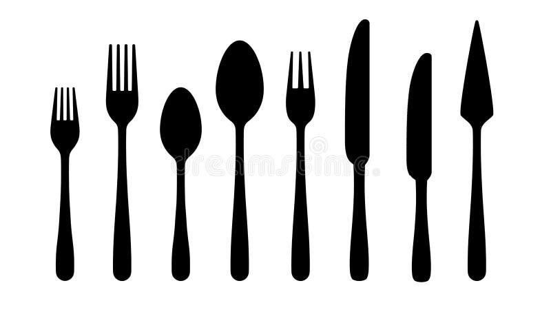 Silhouettes de couverts Icônes de noir de couteau de cuillère de fourchette, silhouettes d'argenterie sur le fond blanc Ensemble  illustration stock