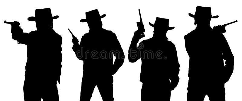 Silhouettes de cowboy avec une arme à feu dans un Stetson illustration de vecteur