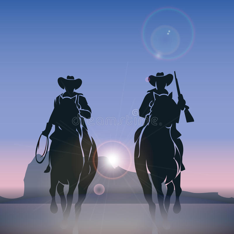 Silhouettes de cowboys galopant à travers la prairie illustration stock