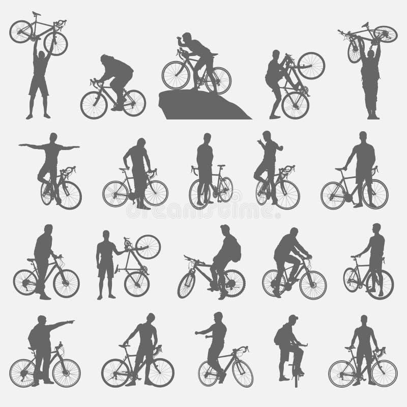 Silhouettes de cyclistes réglées illustration libre de droits