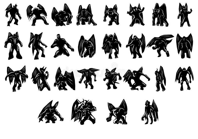 Silhouettes de démons illustration stock