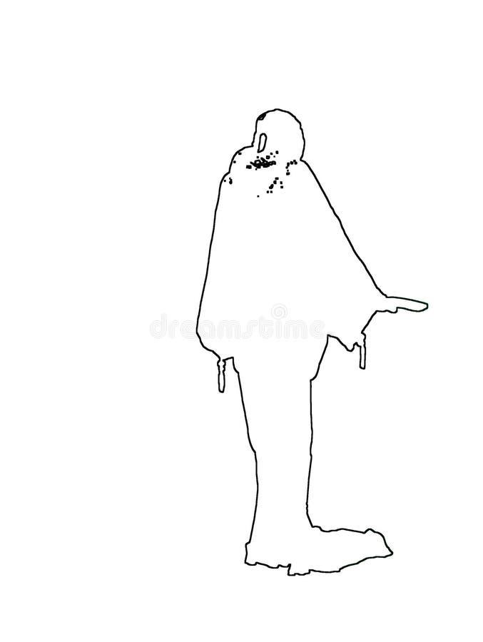 Silhouettes de dame élégante dans la longue robe flowy illustration stock