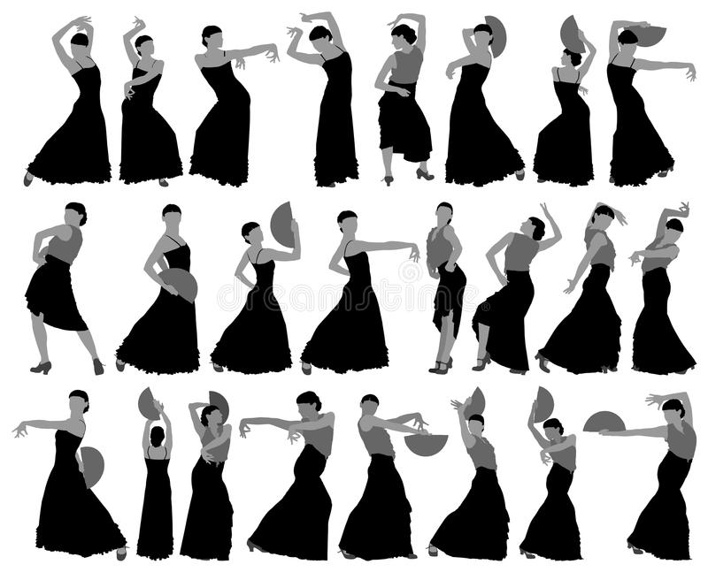 Silhouettes de danseur féminin de flamenco illustration stock