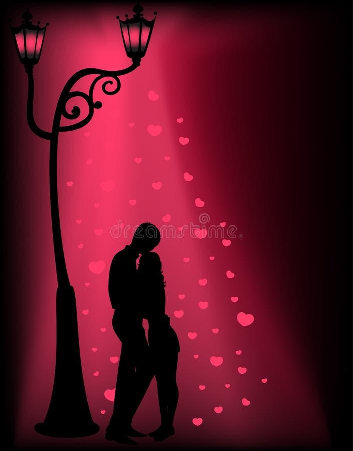 Silhouettes de deux amoureux illustration libre de droits