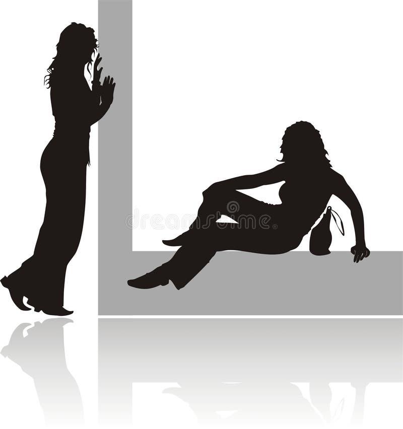Silhouettes de deux filles illustration stock