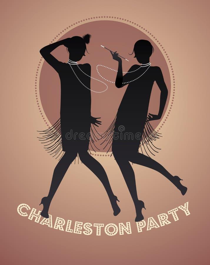 Silhouettes de deux filles d'aileron dansant Charleston illustration stock