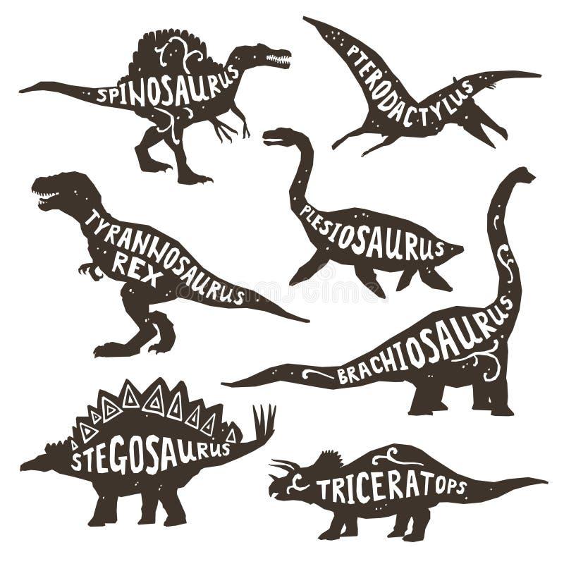 Silhouettes de dinosaures avec le lettrage illustration libre de droits