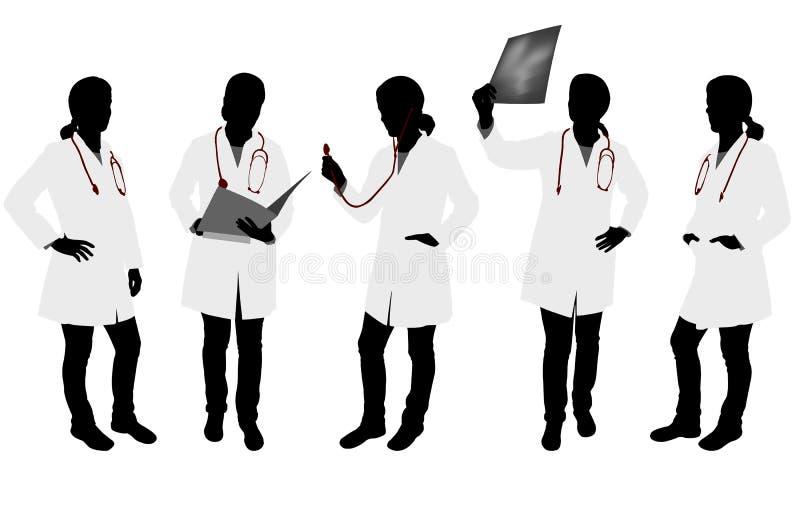 Silhouettes de docteur féminin illustration libre de droits