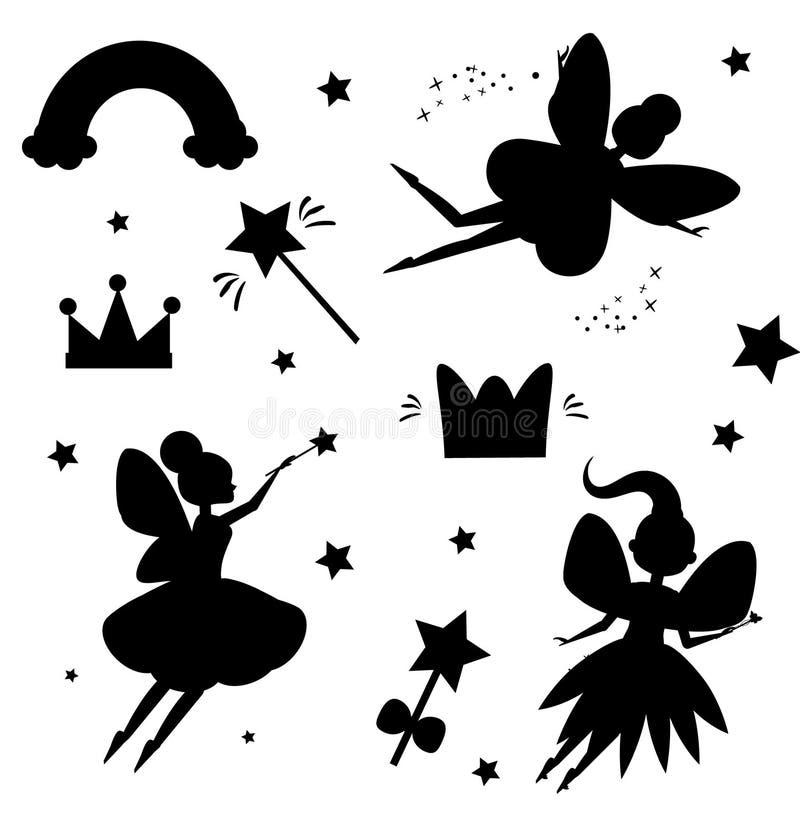 Silhouettes de fées de vol d'isolement sur le fond blanc Caractéristiques magiques de monde féerique Éléments d'isolement pour de illustration de vecteur