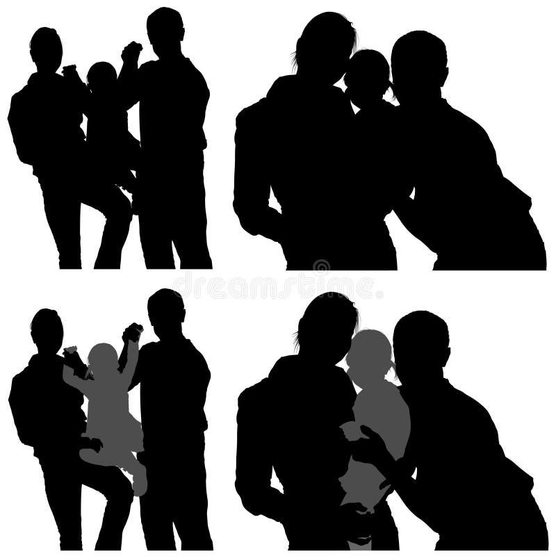 silhouettes de famille illustration stock
